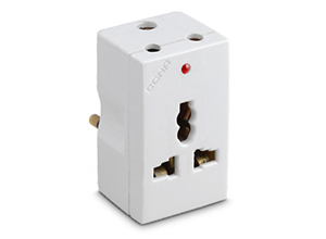 cona Gold 6A 3 Pin Multi Plug (With International Socket & Ind)